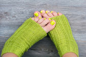 Green female pedicure — Stock Photo