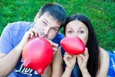 Friends with balloons — Stock Photo