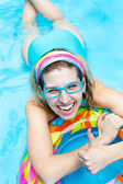 Girl in aquapark — Stock Photo