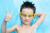 Boy in aquapark — Stock Photo