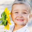 Little girl and sunflowers — Stock Photo