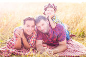 Happy family on nature — Foto Stock