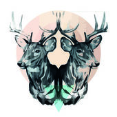 Two soul Deer — Stock Vector