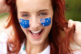 Happy female with australian flag, isolated — Stock Photo