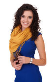 Young attractive smiling woman in a blue dress, isolated on whit — Stock Photo