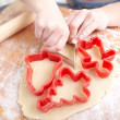Making biscuits for christmas decorations, kitchen in a backgrou — 图库照片