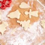 Takže sušenky pro vánoční ozdoby, kuchyně v poz — Stock fotografie