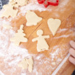 Making biscuits for christmas decorations, kitchen in a backgrou — Stockfoto