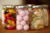 Colorful jelly mix in jars — Stock Photo