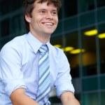 Porträt von gut aussehend attraktive Geschäftsmann, outdoor Shooting — Stockfoto