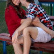 Portrait of a happy young couple having fun outside — Stock Photo