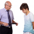 Strict father punishes his young son, isolated on white backgrou — Stock Photo #14268141