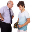 Strict father punishes his young son, isolated on white backgrou — Stock Photo #14268149