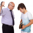 Strict father punishes his young son, isolated on white backgrou — Stock Photo #14268181