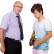 Strict father punishes his young son, isolated on white backgrou — Stock Photo