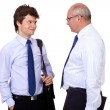 Young businessman and senior businessman in blue shirts, isolate — Stock Photo