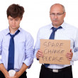 Two depressed businessmen asking about help after recession, iso — Stock Photo