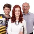 Happy father with daughter and son with skateboard, isolated on — Stock Photo #14269147