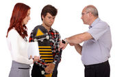 Strict father punishes his young son and daughter, isolated on w — Stock Photo
