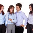 Stock Photo: Young smiling group of businesswomen and businessman, isolated o