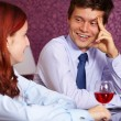 Young happy couple restaurant background — Stock Photo #14628239