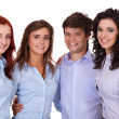 Young smiling group of businesswomen and businessman, isolated o — Stock Photo