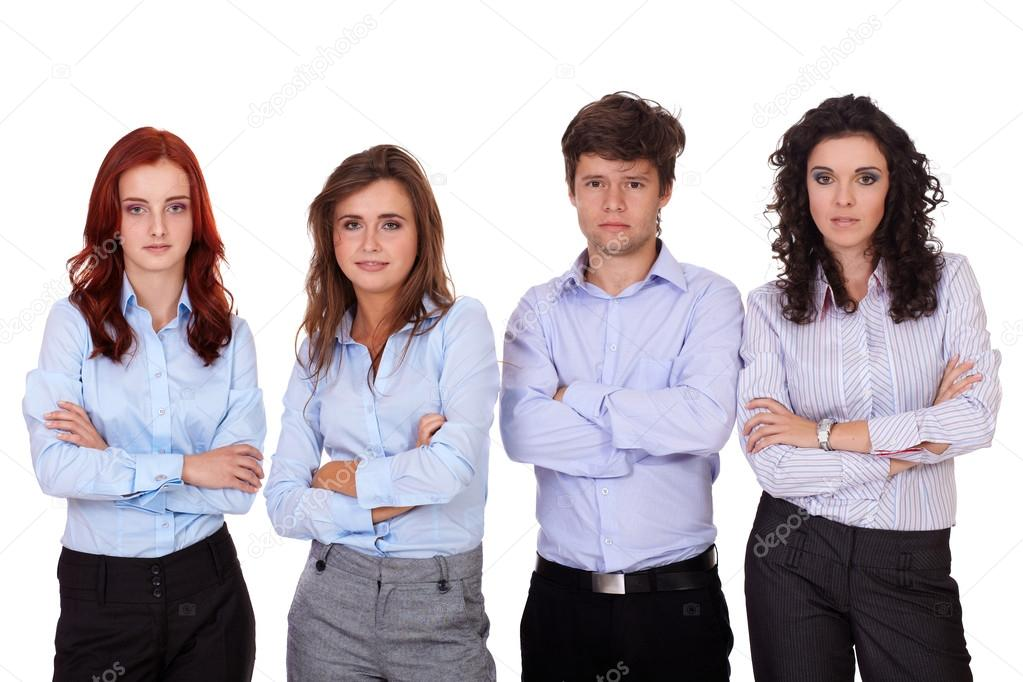 Group of young business standing with folded hands, isolated on white — Stock Photo #14628301