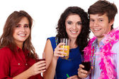 Group of young smiling on a party, isolated on white — Stock Photo