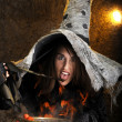 Halloween witch cooking in a copper cauldron — Stock Photo #12440358