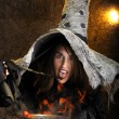 Stock Photo: Halloween witch cooking in a copper cauldron