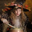 Witch cooking in a copper cauldron — Stock Photo #12440632