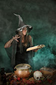 Halloween withch on smoky green and purple background — Stock Photo