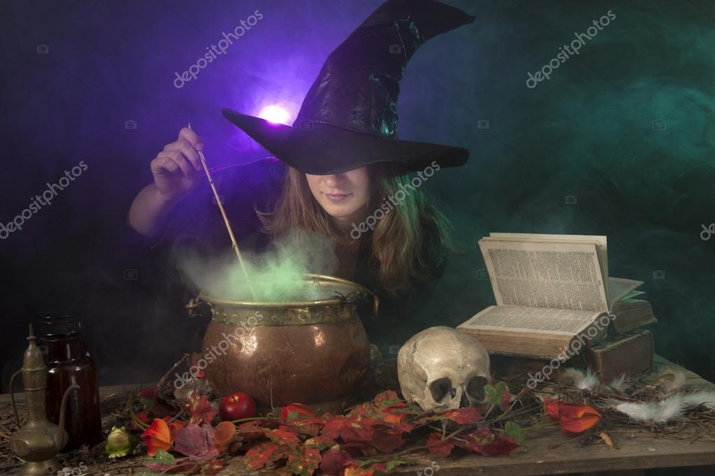Halloween with on green and purple smoke background  Stock Photo #12461952