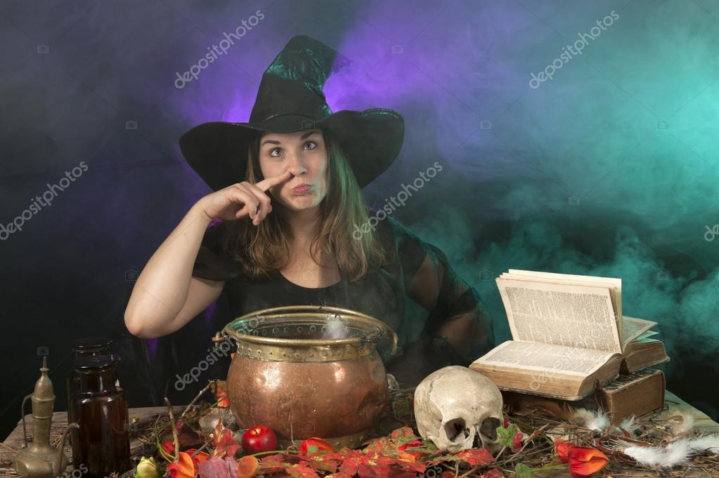 Halloween with on green and purple smoke background — Stock Photo #12462036