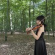 Royalty-Free Stock Photo: Young female violinist playing in the woods