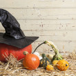 Stock Photo: Pumpkins and witch hat