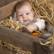 Baby in a case with straw — Stock Photo