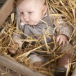 Baby in crate with straw — Stock Photo #13397660