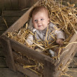 Baby in a case with straw — Stock Photo #13397674
