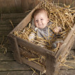 Baby in a case with straw — Stock Photo #13397729