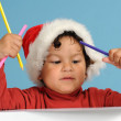 Dear Santa, little boy with christmas hat — Stock Photo