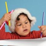 Dear Santa, little boy with christmas hat — Stock Photo