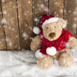 Teddy bear with xmas hat in the snow — Stockfoto