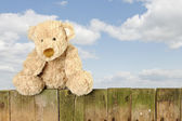 Teddy bear seated on an old wooden fence outdoors — Foto Stock