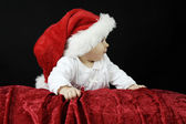 Little baby with christmas hat — Stock Photo