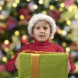 Foto Stock: Child with christmas present and hat