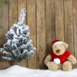 Christmas teddy bear sitting in the snow — Stock Photo #16995709