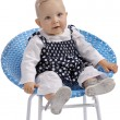 Cute little baby girl sitting in a chair - Stock Photo