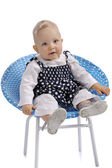 Cute little baby girl sitting in a chair — Stock Photo