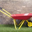 Wheelbarrow on frass against wooden wall — Stock Photo #21173279